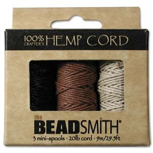 Twine Hemp Beading - Beadaholique Beadsmith Natural Hemp Twine Bead Cord 1mm, Black, Brown and Natural, 29.5 Feet Each