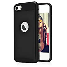 iPod Touch 6th Case, MagicMobile® Hard Shockproof Rubber Case for Apple iPod Touch 6 Gen Dual Layer Slim Armor Impact Shock Resistant Case for iPod Touch 6 / 6th Generation (Black - Black)