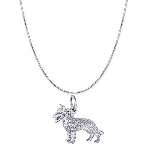 German Shepherd Charm Dog (Rembrandt Charms Sterling Silver German Shepherd Dog Charm on a Box Chain Necklace, 18