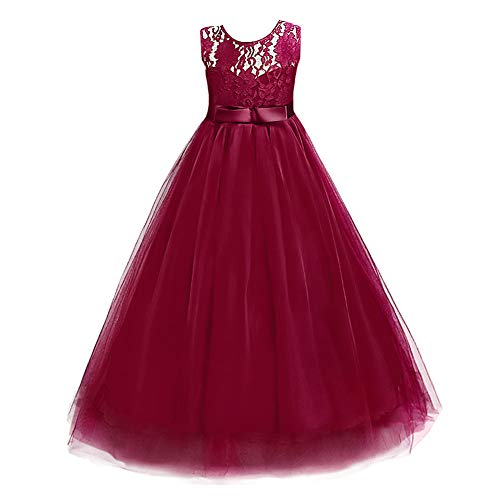 IWEMEK Girls Tulle Lace Flower Wedding Bridesmaid Dress Floor Length Princess Long A Line Pageant Formal Prom Dance Gown Burgundy