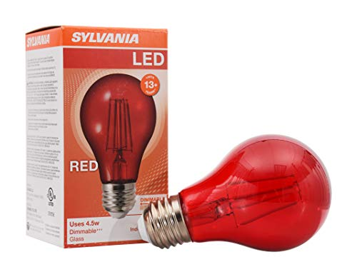 SYLVANIA LED Red Glass Filament A19 Light Bulb, Dimmable, Efficient 4.5W, E26 Medium Base, 1 pack