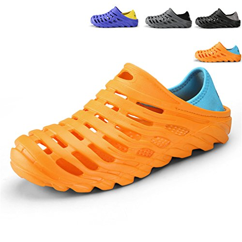 Sherry Love Men's Summer Breathable EVA Sandals Beach Footwear Anti-Slip Garden Clog Shoes-Orange-43 EU 9.5 D(M)US