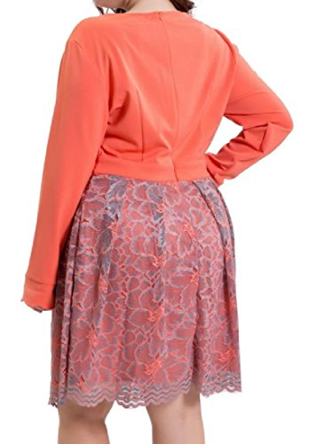 Confortables ¡¯ S Perspective V Coutures Cou Tunique Robe De Soirée Surdimensionné D'orange