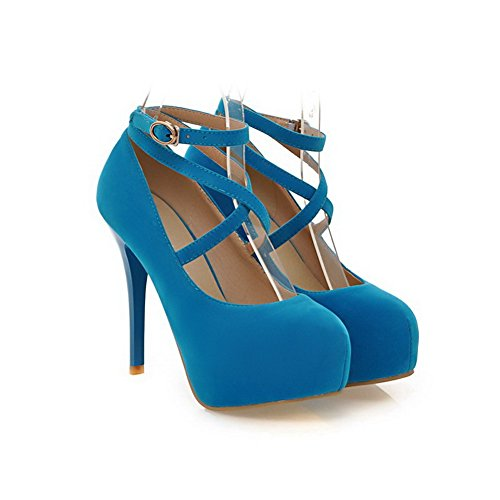 VogueZone009 Womens Round Toe Spikes Stilettos PU Rubber Frosted Solid Pump Shoes with Platform Platform Blue AGHC4bloyi