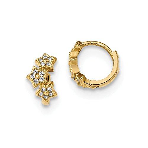 14K Yellow Gold Madi K CZ 3-Star Hinged Hoop Earrings Solid 5.7 mm 9.8 mm Hinged/Huggie Earrings Jewelry
