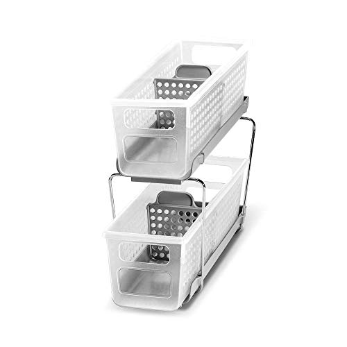 madesmart 2-Tier Organizer Bath Collection Slide-out Baskets with Handles, Space Saving, Multi-purpose Storage & BPA…