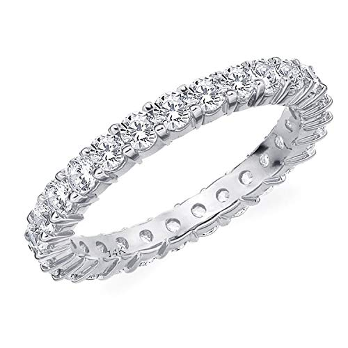 1.5CT Passion Eternity Diamond Ring in 14K White Gold Shared Prong Setting - Finger Size 6