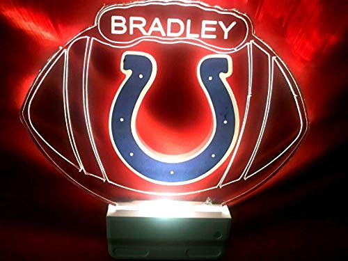 Indianapolis Colts NFL Football Night Light Multi Color Personalized LED Plug-in, Ultra-Slim Cool-Touch Light with Smart Dusk to Dawn Sensor, Family Room Bedroom Kitchen Bathroom Hallway, Super Cool