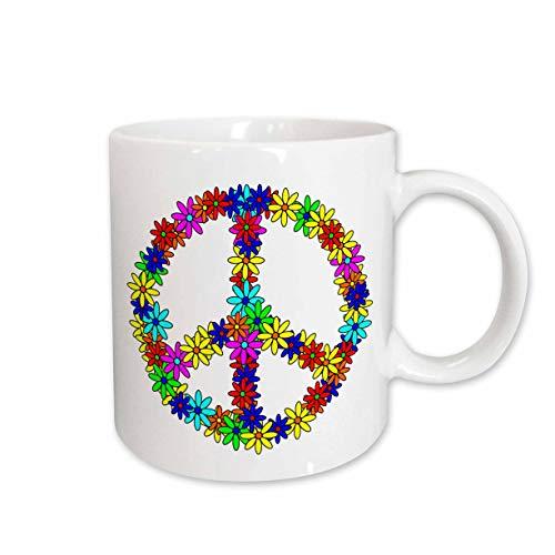 3dRose Peace Sign Flower Power Design Ceramic Mug, 15-Ounce