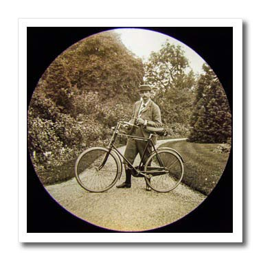 3dRose Scenes from The Past - Magic Lantern - Vintage Edwardian English Gentleman with Bicycle and Pipe Circa 1910-10x10 Iron on Heat Transfer for White Material (ht_300288_3)