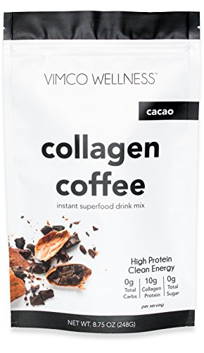 Wellness Beverage - Vimco Wellness Collagen Coffee, Raw Cacao | Instant Coffee | Premium Superfood, Collagen Protein, Paleo Coffee | No Sugar, No Gluten, 20 Servings
