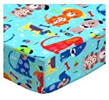 SheetWorld Fitted Pack N Play Sheet 29.5 x 42 - Doggies Aqua - Made in USA
