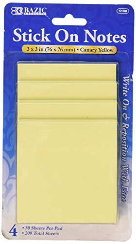 BAZIC 50 Ct. 3'' X 3'' Yellow Stick On Notes (4/Pack) by Bazic