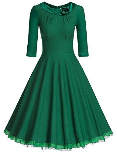 (MUXXN Women's 1950s Vintage 3/4 Sleeve Rockabilly Swing Dress(L,Green))