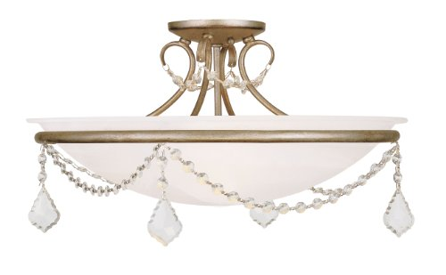 Livex Lighting 6525-73 Chesterfield/Pennington 3 Light Ceiling Mount, Hand Painted Antique Silver Leaf