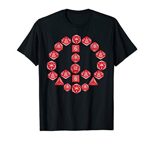 Peace Sign Dice Art Set Crit Funny DND DM D20 T-Shirt