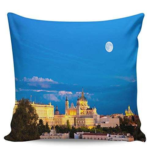 Queen Area Square Pillowcases for Mens Women Girls Boys Luxury Soft Throw Cushion Cover Pillow Sham for Living Room Sofa Bedroom Couch & Bed Madrid Nightscape -