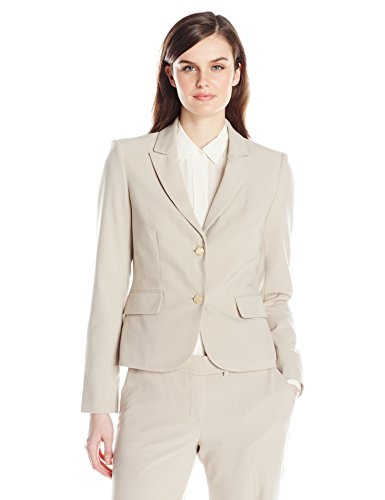 Calvin Klein Women's 2 Button Suit Jacket, Khaki, 10 by Calvin Klein