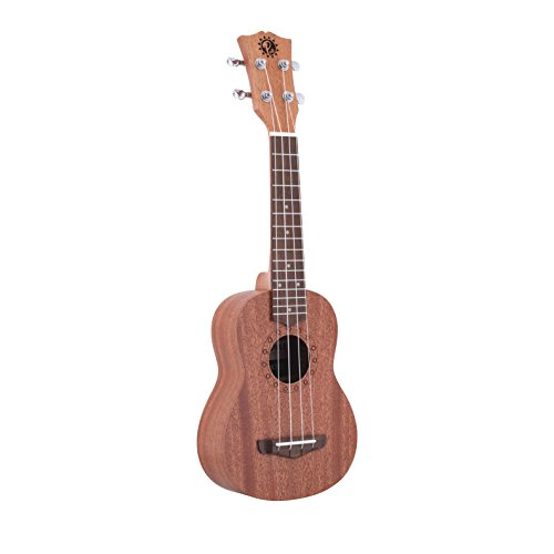 Pyle Mahogany Wood Soprano Ukulele - Solid Dark Brown Body & Neck, Black Walnut Fingerboard & Bridge - Standard 4 String Starter Hawaiian Uke Guitar Easy for Beginners to Learn & Play - PUKT45 by Pyle