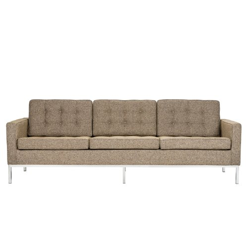 LeisureMod Florence Style Mid Century Modern Tufted Sofa in Oatmeal Twill Wool