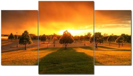 Imagen TOP XXL puesta de sol sobre lienzo imágenes 3 piezas Art-Nr. AMXL31151 PARK cm en auténtico Lienzo. Diseño instalado. Buena como al óleo Póster cartel con marco enorme! Más MADE IN