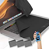Clean Screen Wizard Microfiber Screen Keyboard Cleaner and Keyboard Screen Protector, 4 Pack 3 X Large Cloths Keyboard Covers and Microfiber Sticker for MacBook Pro 15, Laptops 15in Screen Space Gray