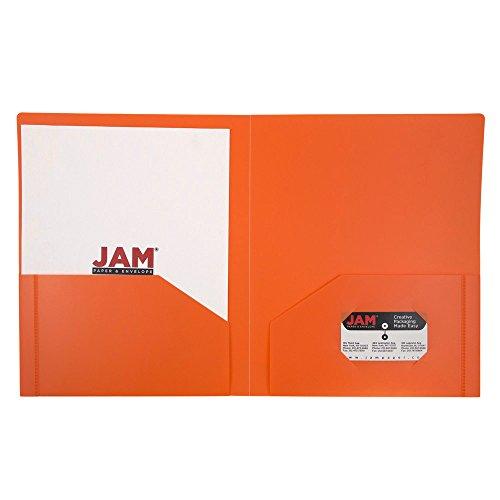 JAM Paper® - Orange Heavy Duty Plastic 2 Pocket Presentation School Folder - Sold individually