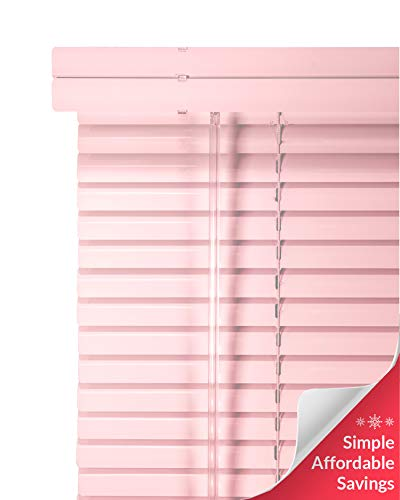 CHICOLOGY Custom Made Corded 1-Inch Aluminum Mini Blind, Blackout Horizontal Slats, Inside Mount, Room Darkening Perfect for Kitchen/Bedroom/Living Room/Office and More: 23″ W X 42″ H, Pink