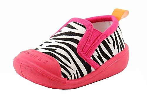 Skidders Infant Toddler Pink Zebra Gripper Slippers Shoes Sz