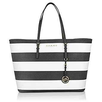 Michael Kors Americana Striped Saffiano Leather Travel Tote Navy White   Amazon.in  Clothing   Accessories 47ab19c8d3f20