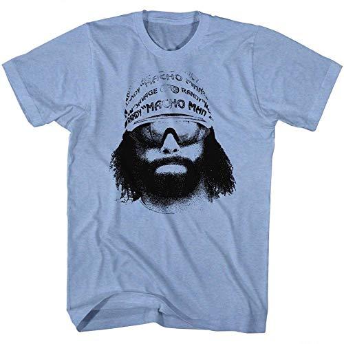 Wolves Macho Man WWF Randy Savage Bandana Sunglasses Face Graphic Adult T-Shirt Neon Blue ()