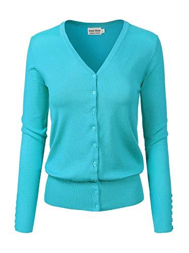 Instar Mode Women's Classic Button Down Long Sleeve V-Neck Soft Knit Sweater Cardigan [S-3XL] Aqua L