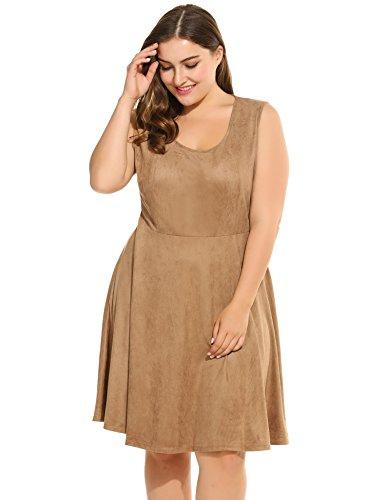 Meaneor Plus Size Women Casual Dress Sleeveless Solid O Neck Swing Dress (XL, Khaki)