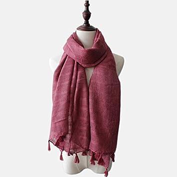 26258375e87f DIDIDD Écharpe d hiver femme solide Mianma frangé écharpe châle All-Match  longue,
