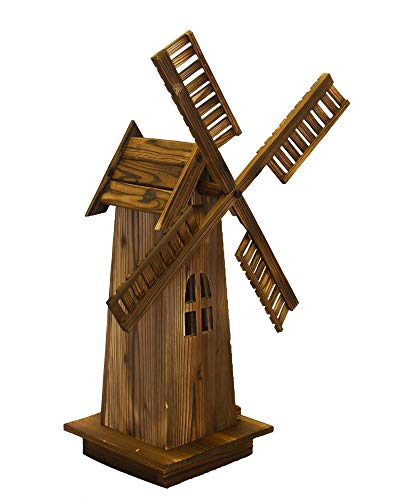 Wooden Dutch Windmill Back Yard Decorations - Classic Old-fashioned Windmill For Garden, Patio (Garden Statues Wooden)