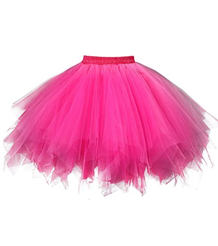 (Dresstore Women's Short Vintage Petticoat Skirt Ballet Bubble Tutu Multi-colored Fuchsia XXL)