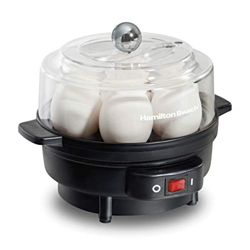 Hamilton Beach Electric Egg Cooker and Poacher for Soft, Hard Boiled or Poached with Ready Timer (25500), Holds 7, Black (Renewed)