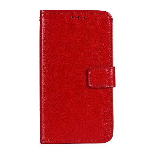 Ulefone Mix 2 Funda Faux Cuero Billetera Funda para Ulefone Mix 2 con Stand Función(Marrón) Rojo