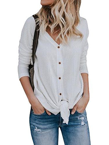 Button Down Long Sleeve Henley - FISACE Womens Henley Shirts V Neck Button Down Solid Long Sleeve Loose Casual Knit Sweaters Tops Blouse (Small, White)