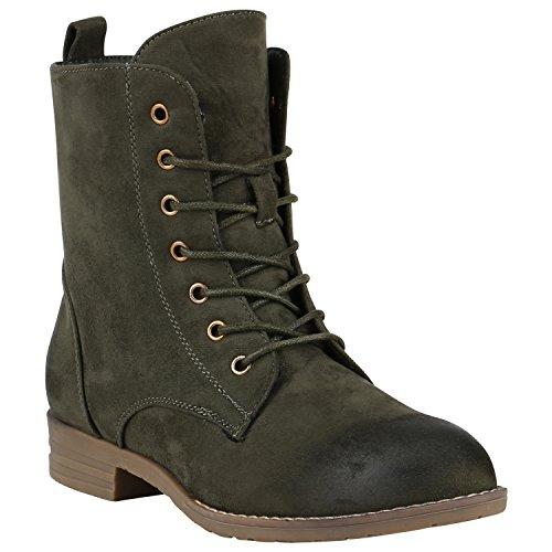 Stiefelparadies Damen Stiefeletten Worker Boots Spitze Stiefel Schuhe Flandell Dunkelgrün Carlton Basic