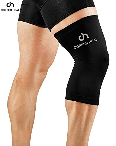 COPPER HEAL Knee Compression Sleeve - BEST Medical Recovery Knee Brace GUARANTEED with Highest Copper Infused Content to Support Stiff Sore Muscles and Joints, Meniscus Tear & Patella Stabilizer Strap