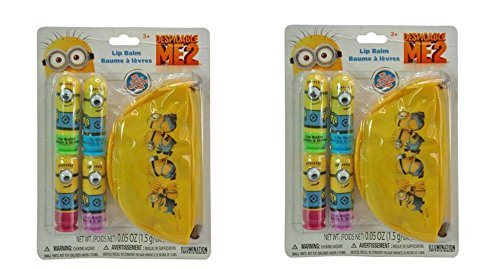 [Despicable Me 4pk Lip Balm with Cosmetic Pouch X 2] (Minion Costume Makeup)