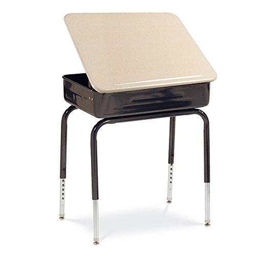 Virco Student Lift Lid Desk with Char Black Metal Bookbox, Sandstone Laminated Top, Black Frame, 2 Pack (751MBBM-BLK01-BRN96-BLK01)