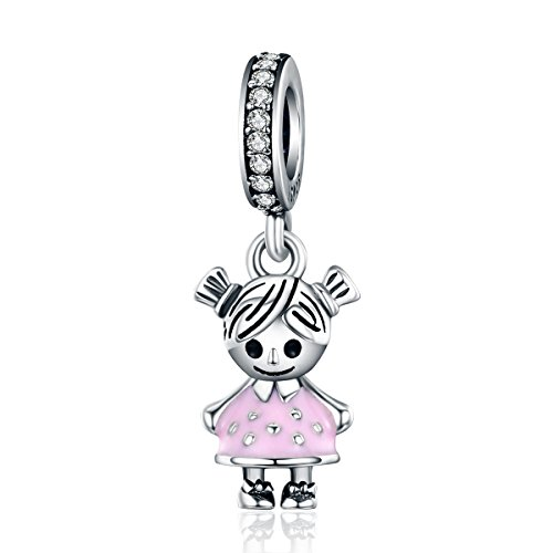 Everbling My Little Baby Girl Boy Brother Sister Family Love 925 Sterling Silver Bead for European Charm Bracelet (Little Girl Pink Enamel Dangle)