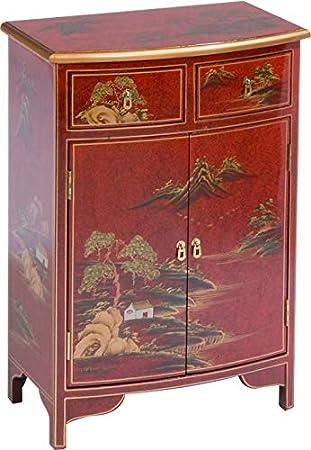 Destock Meubles Meuble D Entree Chinois Laque Rouge 2 Portes 2 Tiroirs Amazon Fr Cuisine Maison
