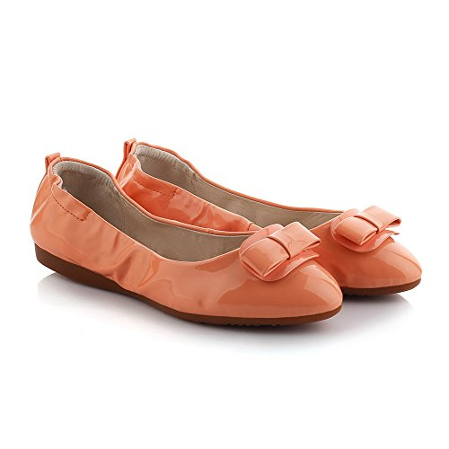 Heel WeenFashion Orange Pointed No Solid Women's Shoes Pull Toe Flats on PU Closed wIqr7IcF