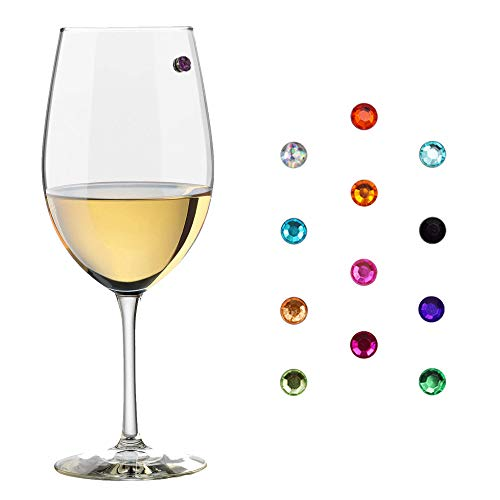 Magnetic Wine - Elegant Multicolor Magnetic Wine Glass Charms Glass Markers that Work on Stemless Glasses for Champagne, Wine, Beer and Cocktail Glasses.