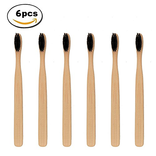 Natural Bamboo Toothbrush, Eco-Friendly Toothbrushes with Medium Soft Black Nylon Bristle, RFWIN Manual Biodegradable BPA Free Toothbrush for Men & Women, Pack of 6