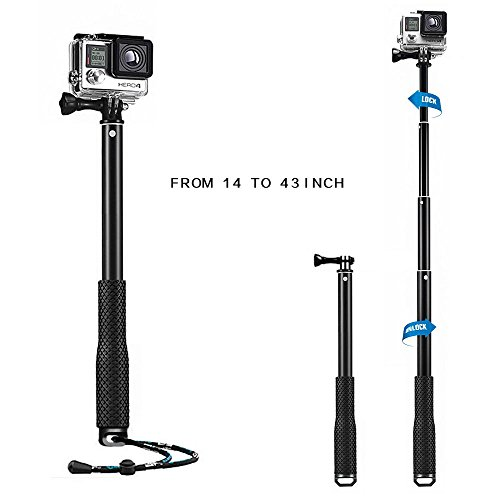 Mystery Waterproof GoPro Handle Grip Extendable Selfie Stick Telescoping Monopod Tripod Self timer for GoPro Hero SJCAM Xiaomi Yi Action Cameras and Many Other Same Mount Cameras (14-43 Inch) (Black)