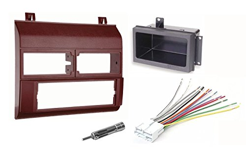 (Single Din Dash Kit + Pocket Kit + Wire Harness + Antenna Adapter.Fits 1988-1996 Red Chevrolet & GMC Complete )